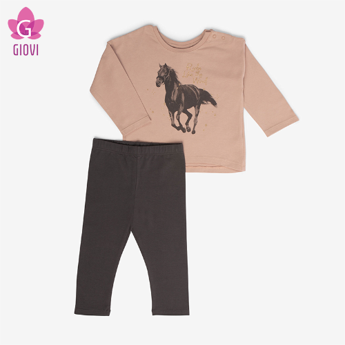 סט חולצה וטייץ (חום)-HORSE