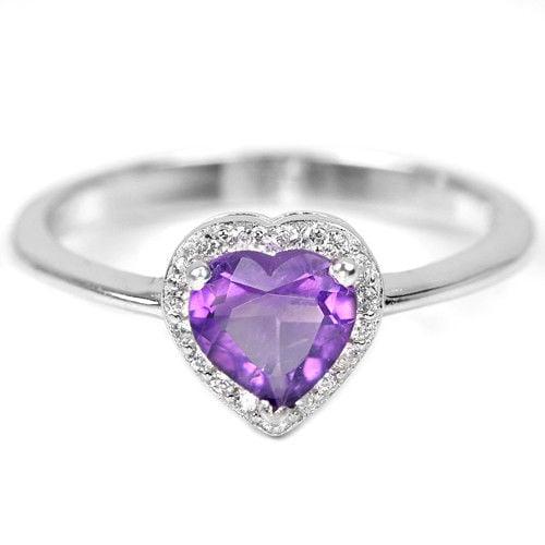 טבעת כסף לב משובצת אמטיסט סגול וזרקונים RG5597 | תכשיטי כסף 925 | טבעות כסף