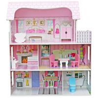 בית בובות עץ לילדים ורוד דגם מיכל W06A139