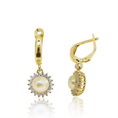 עגילי זהב 14 קרט נתלים משובצים פנינה ו0.56 קראט יהלומים