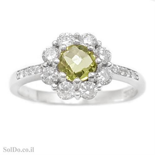 טבעת מכסף משובצת אבן פרידוט וזרקונים RG8736 | תכשיטי כסף 925 | טבעות כסף