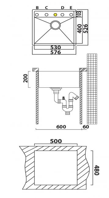 כיור מטבח יחיד תוצרת אולין דגם זירו 110