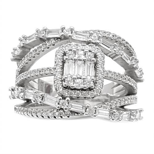 טבעת כסף מעוצבת משובצת אבני זרקון RG5976 | תכשיטי כסף | טבעות כסף