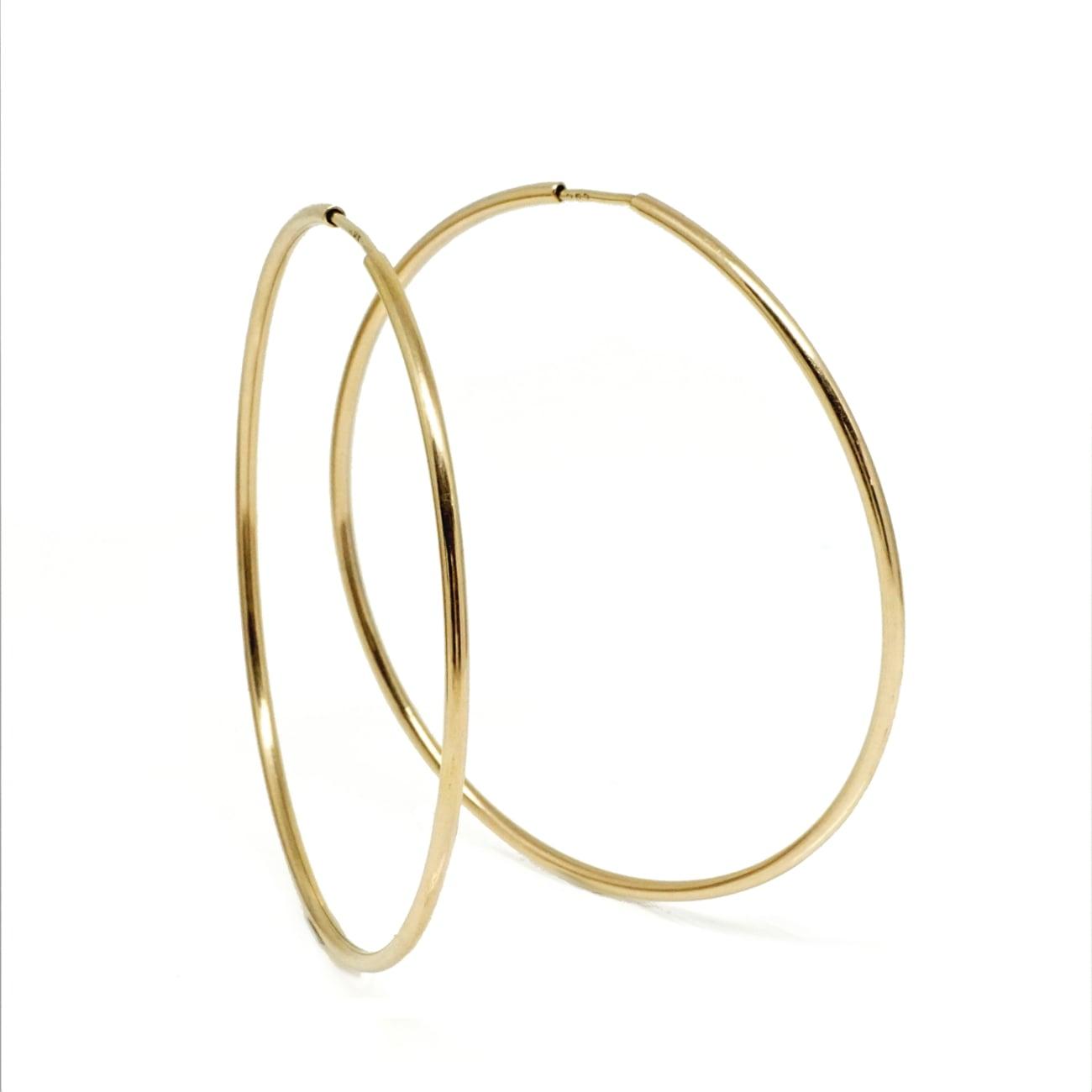 עגילי חישוק זהב דקים גדולים לאישה 6.0 סמ
