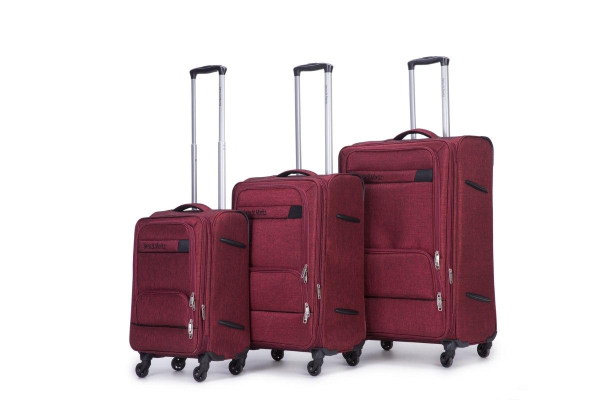 סט בד 3 מזוודות איכותיות SWISS  - אדום