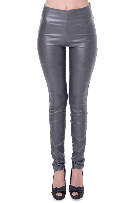 מכנס דמוי עור ללא רוכסן וללא כפתור בצבע אפור
