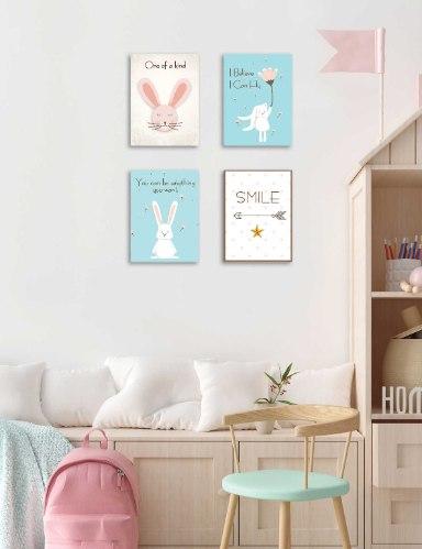 סט של 4 תמונות השראה ארנבות לחדר ילדים דגם 038