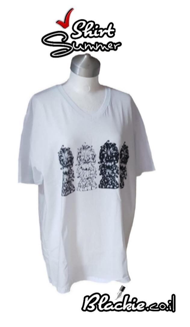 חולצה✔לקיץ הדפס גראפי נעול צבע לבן