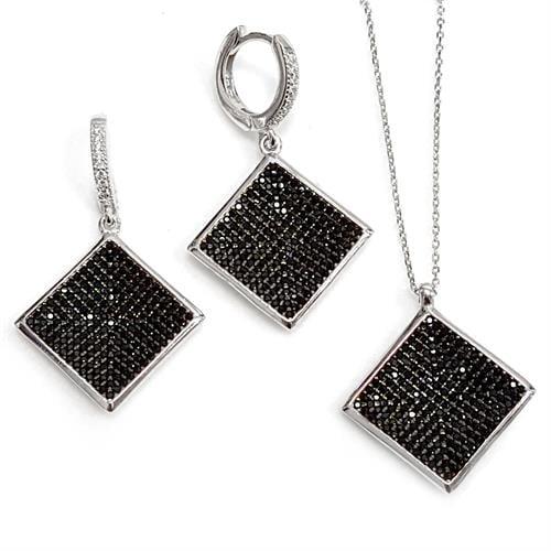 עגילים ותליון כסף משובצים זרקונים שחורים S1453 | תכשיטי כסף 925 | עגילי כסף | שרשרת כסף