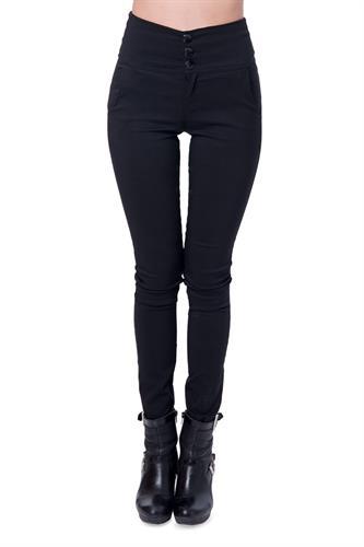 מכנס אלגנט עם חגורה רחבה ו3 כפתורים בצבע שחור