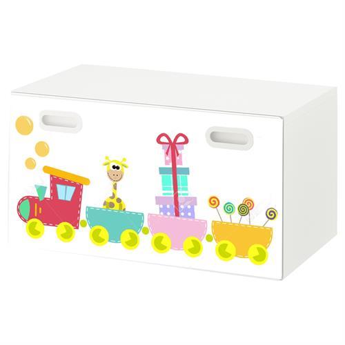טפט דביק מותאם לספסל אחסון לצעצועים (STUVA)- רכבת צבעונית