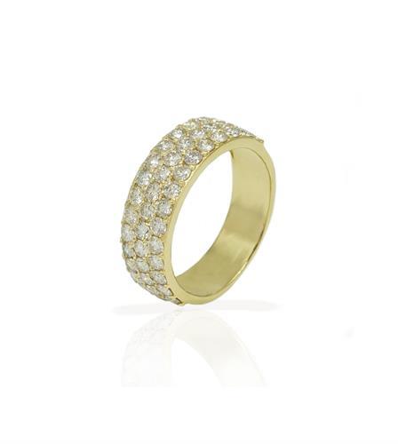 טבעת יהלומים שלוש שורות יהלומים 0.45 קראט טבעת איטרניטי