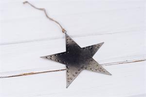 כוכב שטוח ממתכת -כסוף מושחר (גודל S)