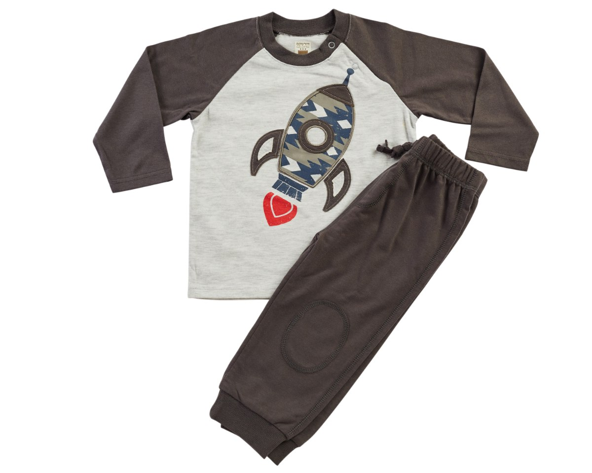 חליפת מעבר חללית חום מכנס פרנצ׳ טרי
