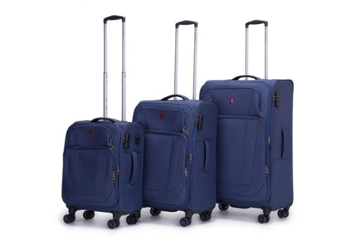 סט 3 מזוודות SWISS ALPS בד קלות וסופר איכותיות - צבע כחול