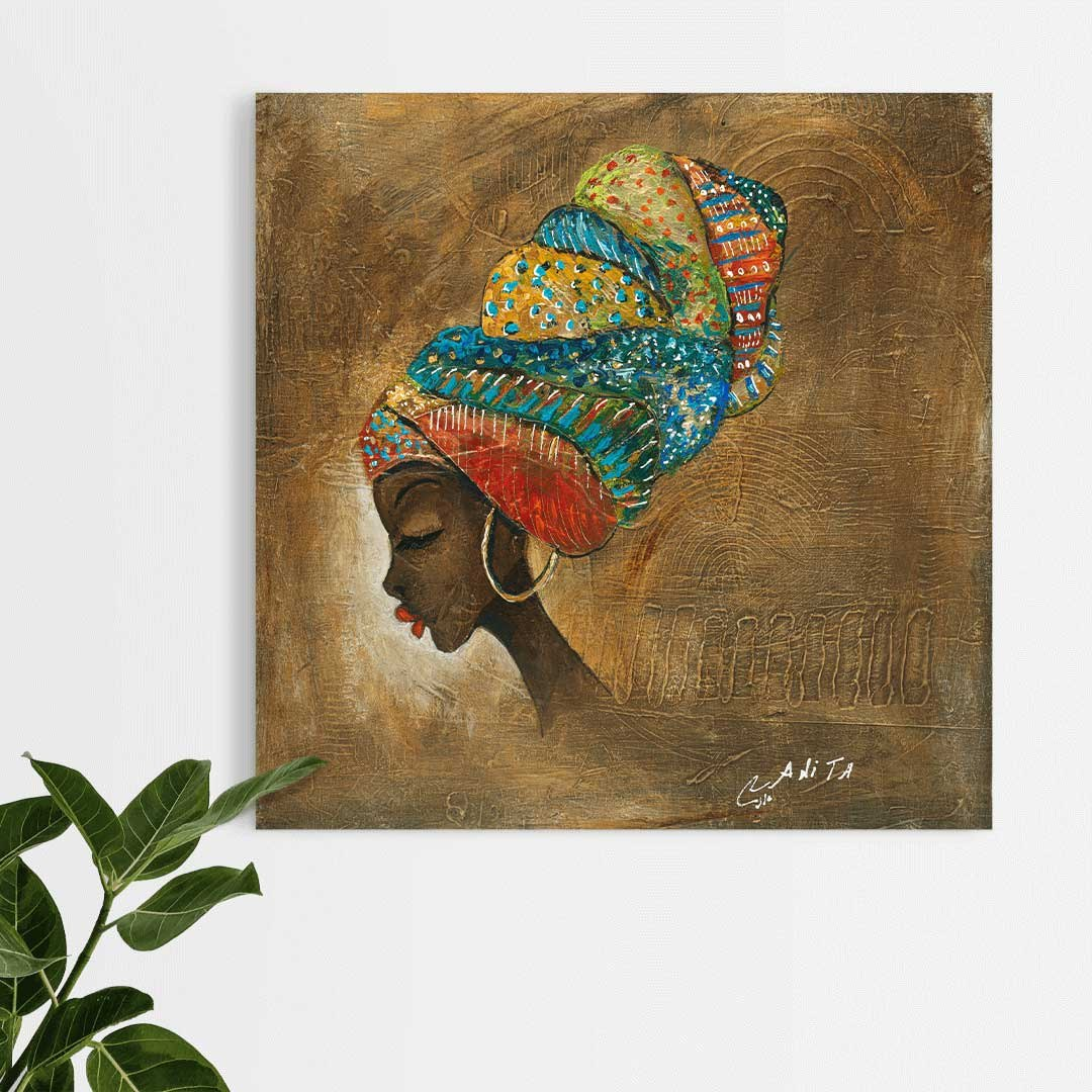 אישה אפריקאית רקע זהב