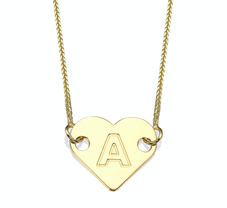 שרשרת זהב 14K עם תליון לב ועליו חריטת אות אחת לבחירה