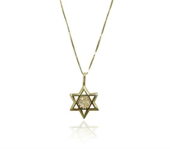 שרשרת ותליון מגן דוד מתנה לבר מצוה משובץ יהלומים