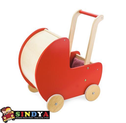 עגלה לבובה אדומה מעץ - ויגה