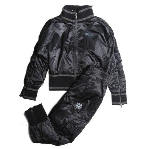 חליפת ניילון עליונית ריצ׳רצ׳ שחורה FILA - מידות 6-16