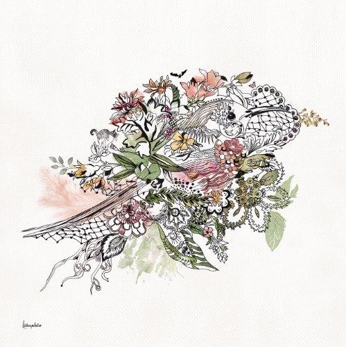 תמונה של ציפור עם פרחים ורודים