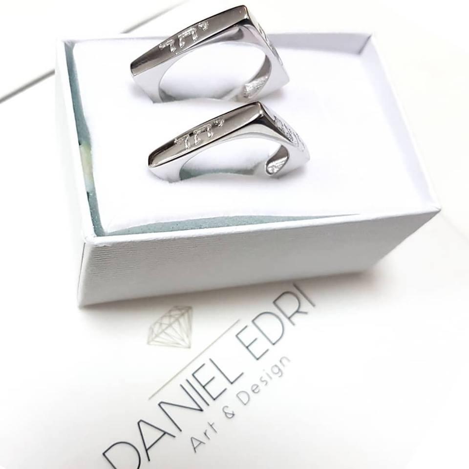 טבעת מרובעת עם חריטה- כסף
