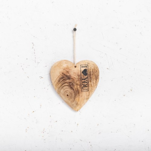 לב עץ - עם כיתוב I ♥ YOU