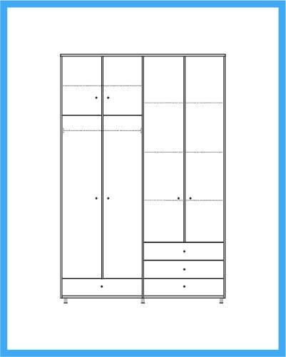 ארון 4 דלתות 3 מגירות דגם קלר
