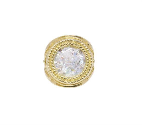 טבעת זהב 14Kמשובצת זכוכית רומית