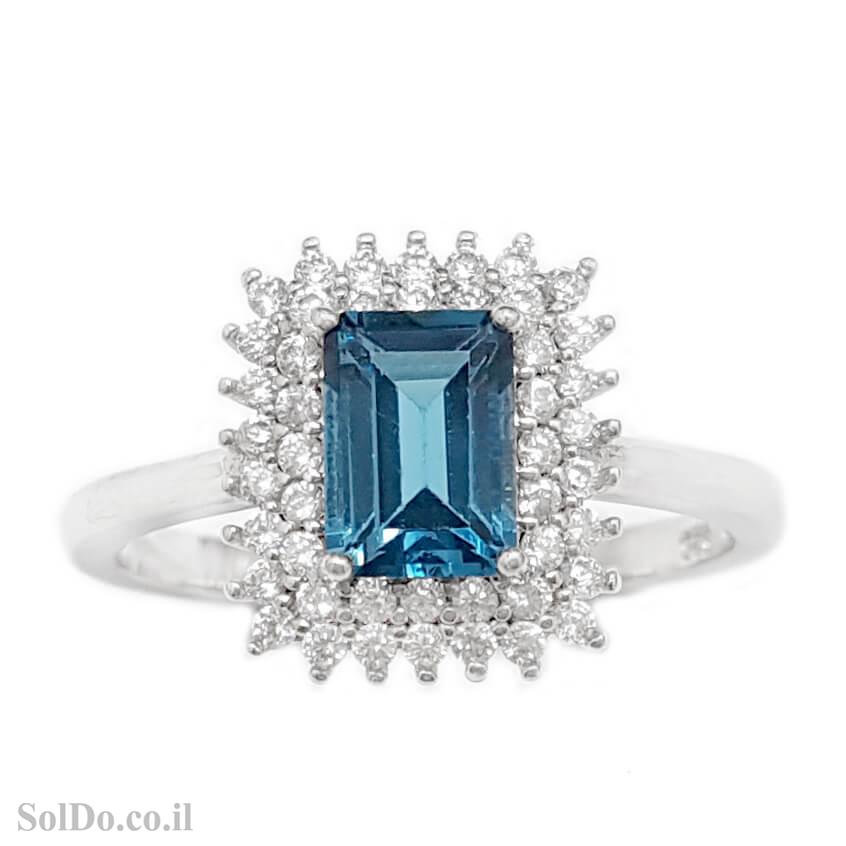 טבעת מכסף משובצת אבן טופז כחולה  וזרקונים RG1651 | תכשיטי כסף 925 | טבעות כסף