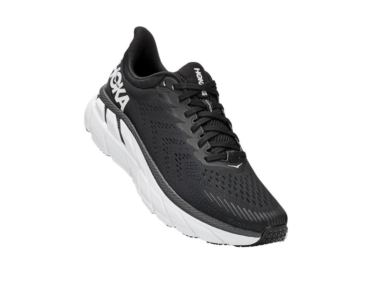 נעלי ריצה לנשים  HOKA CLIFTON 7 WIDE בצבע שחור/לבן