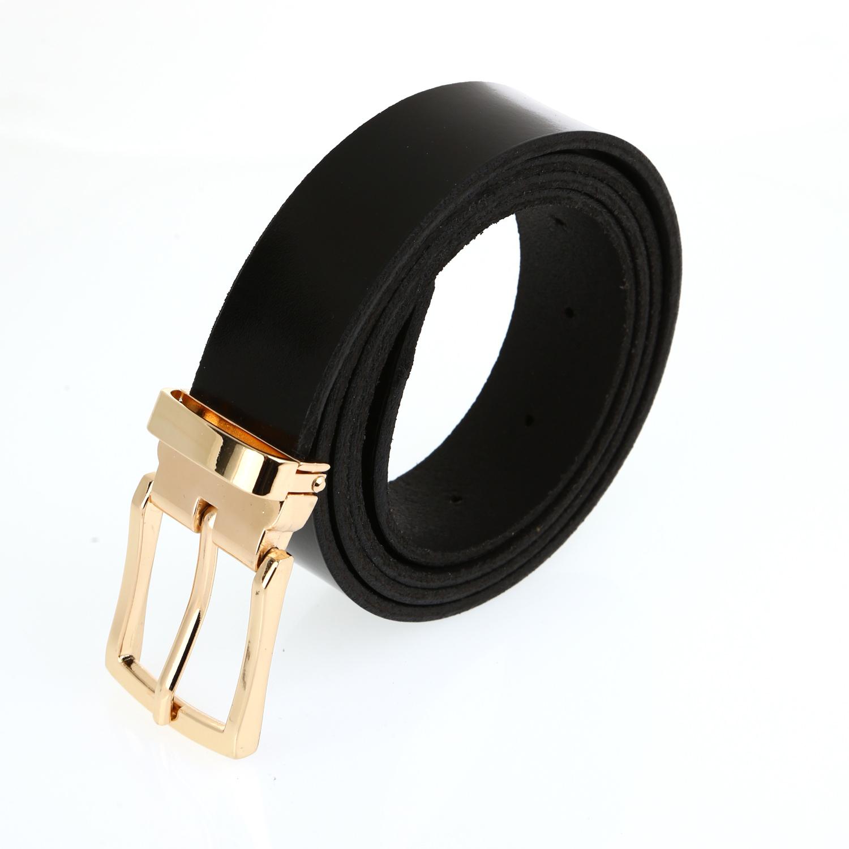 חגורה עור שחור מבריק אבזם זהב
