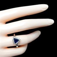 טבעת כסף משובצת אבן זרקון כחולה בצורת משולש וזרקונים קטנים RG5645 | תכשיטי כסף 925 | טבעות כסף