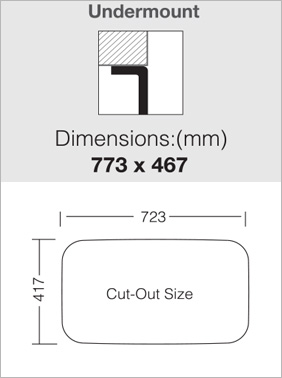 כיור מטבח נירוסטה 304 יחיד 77 ענק - התקנה שטוחה