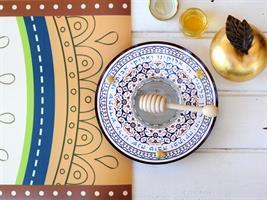 כלי לדבש ותפוחים עיטורים בחום Dvash_08