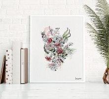 תמונה לחדר של ציפורים ופרחים
