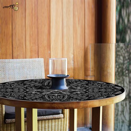 מפת שולחן פיויסי דקורטיבית- מנדלה שחורה ל-שולחנות מעוצבים