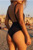 בגד ים שלם - סיקסטיז שחור עדן מבריק