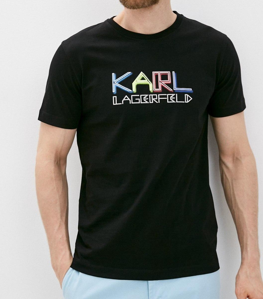 גברים   KARL LAGERFELD T-SHIRT LOGO BLACK
