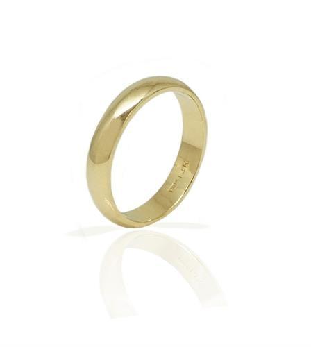 טבעת זהב נישואין לגבר מעוגלת חלקה