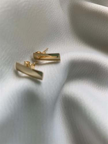 עגילי מלבן זהב 14 קראט