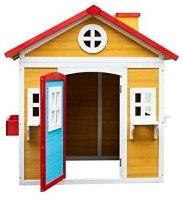 בית עץ לחצר עשוי מעץ אורן איכותי בצבעי עץ, אדמה ותכלת