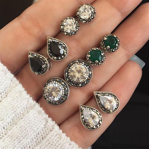 5זוגות עגילים אבן דמוי יהלום  -  Zerconia Water, Drop Green, Black Gemstones