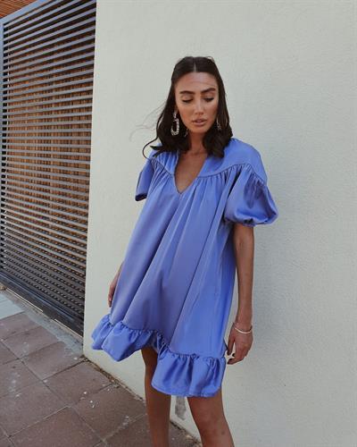 שמלת פאולה - כחול סגלגל