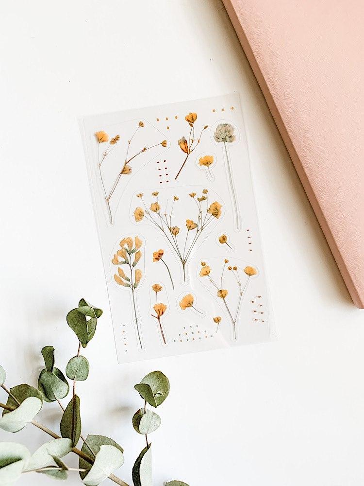 מדבקות פרחים- קולקציה עונתית צהובה
