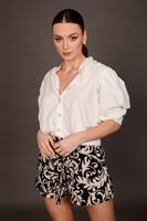 חולצת פאולינה ערב לבן/שחור