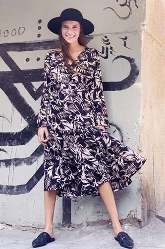 שמלת מידי וולן אודרי הדפס עלים