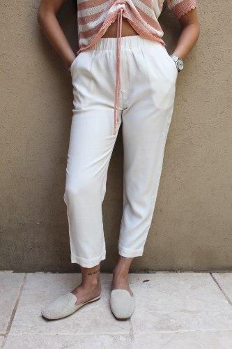 מכנסי רון קפלים לבן