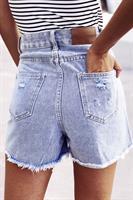 ג'ינס קצר תכלת קרעים רפאל