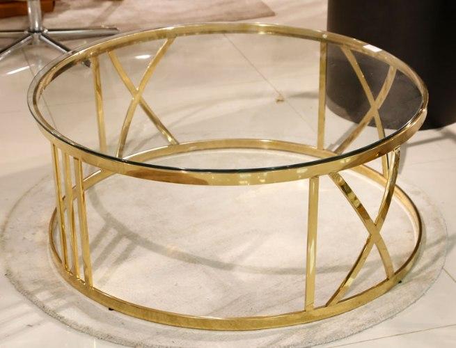 שולחן סלון עגול נירוסטה  מידות: 100X45